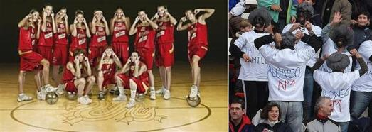 "2008 Olympics Spanish basketball team doing the hilarious ""slitty eyes"" joke; some ""fans"" of Lewis Hamilton giving him some Spanish-style love."