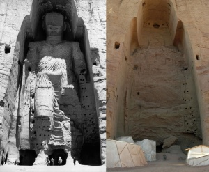 The 180 foot high Bamiyan Buddha, before and after improvement works carried out by the Taliban in 2
